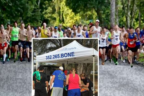Runners on path with a inset picture of participants under a canpoy tent registering to run